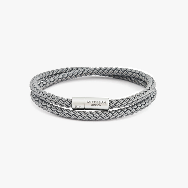 Tateossian Notting Hill Bracelet in Grey Rubber with Aluminium