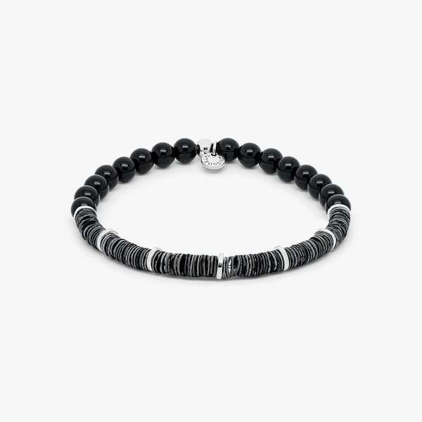 Tateossian Abyss Bracelet with Polished Onyx Beads and Seashell Discs