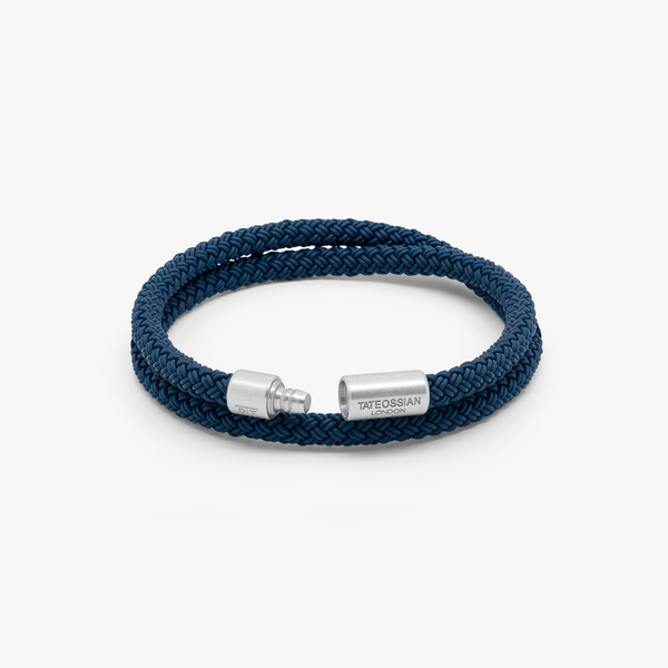Tatetossian Notting Hill Bracelet in Blue Rubber with Aluminium