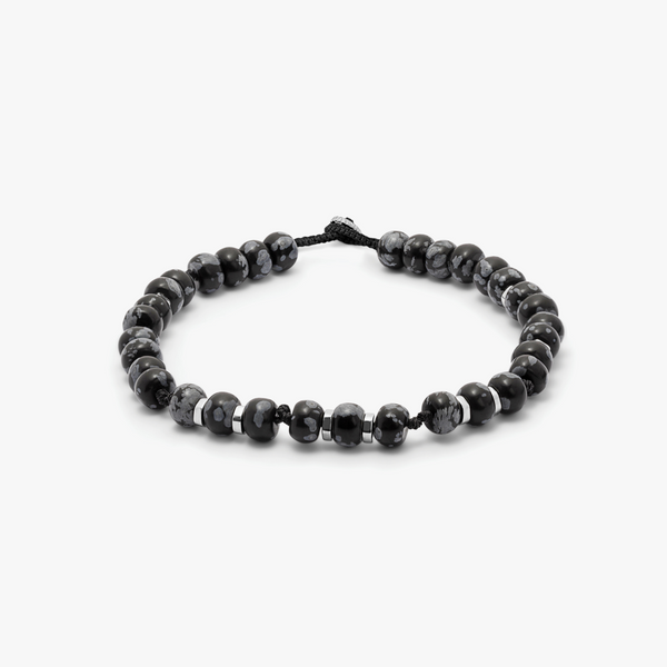 Tateossian Nepal Bracelet with Black Macramé and Polished Snowflake Obsidian Beads