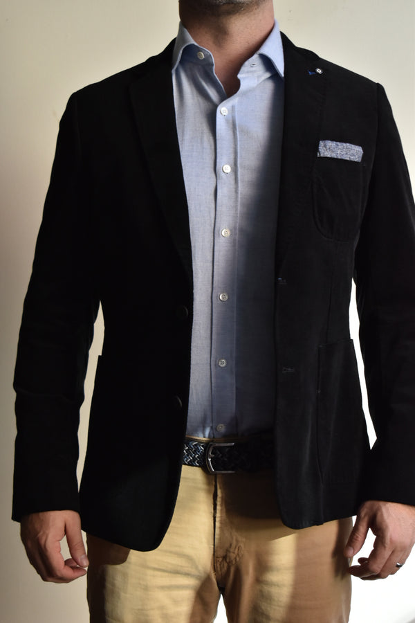 Blue Industry Jacket Black Cord Velvet