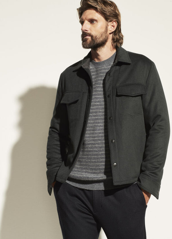 Vince Wool Quilted Overshirt  - Evergreen