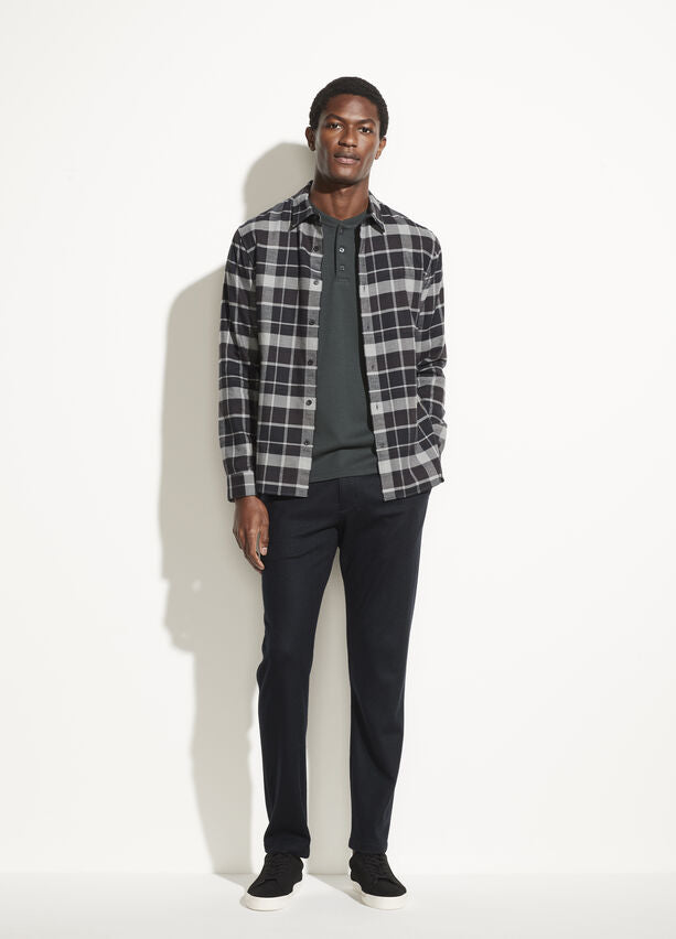 Vince Brushed Plaid Long Sleeve - Black