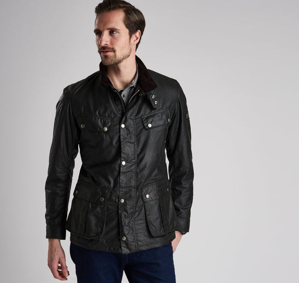 Barbour International Duke Wax Jacket  - Sage