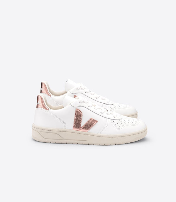 Veja Womens V-10 Leather Extra White Nacre Sneaker
