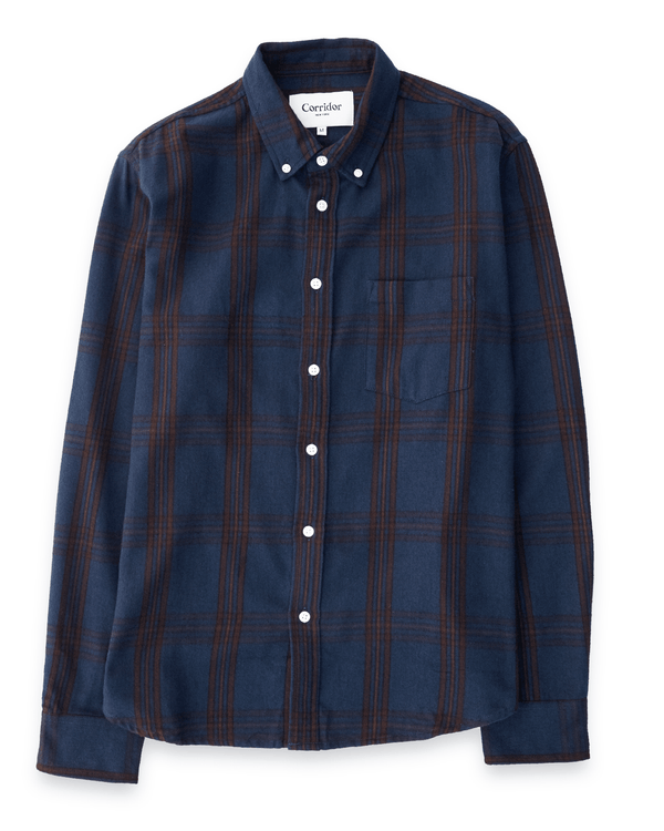 Corridor Navy Brown Check Flannel