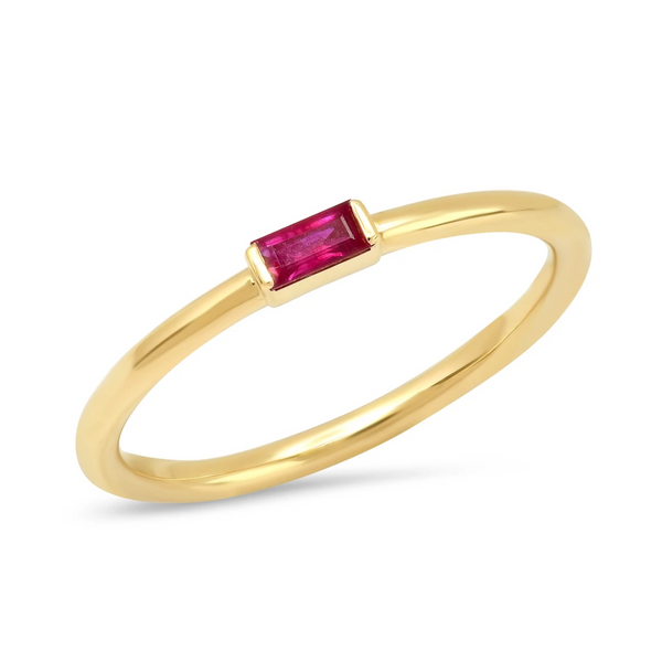 Eriness Ruby Baguette Solitaire Ring