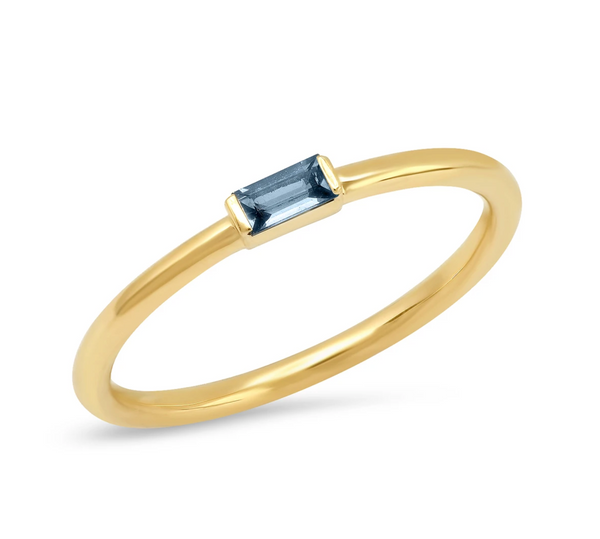 Eriness Blue Sapphire Baguette Solitaire Ring