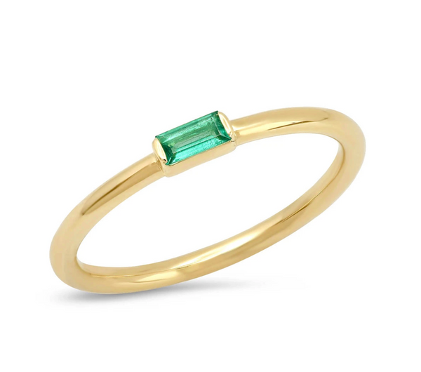 Eriness Emerald Baguette Solitaire Ring