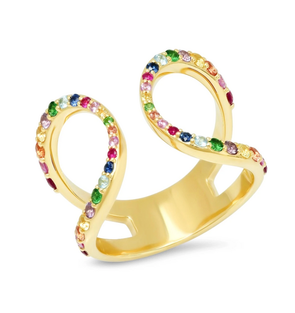 Eriness Multi Colored Double Loop Ring