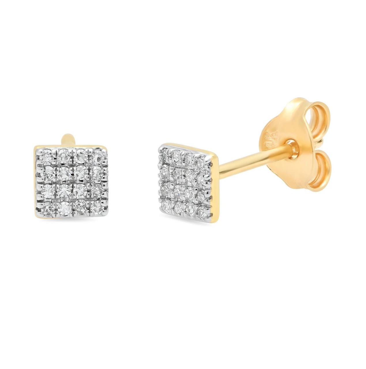 Eriness Pave Diamond Square Studs