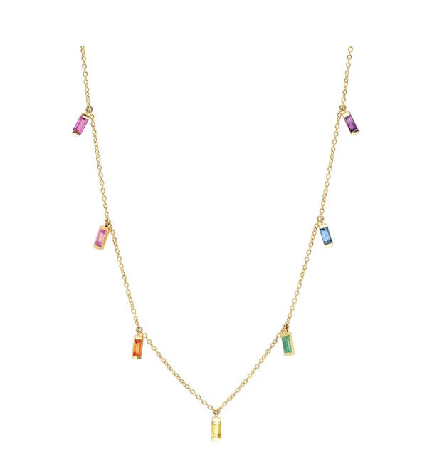 Eriness Rainbow Baguette Necklace