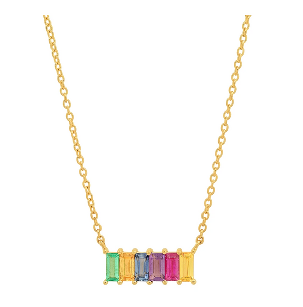 Eriness Multi Colored Baguette Staple Necklace