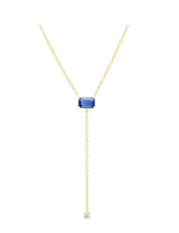 Eriness Solitaire Blue Sapphire Lariat