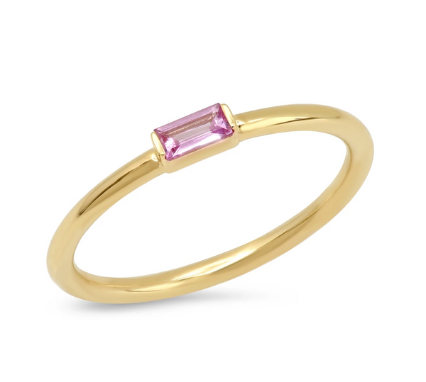 Eriness Pink Sapphire Baguette Solitaire Ring