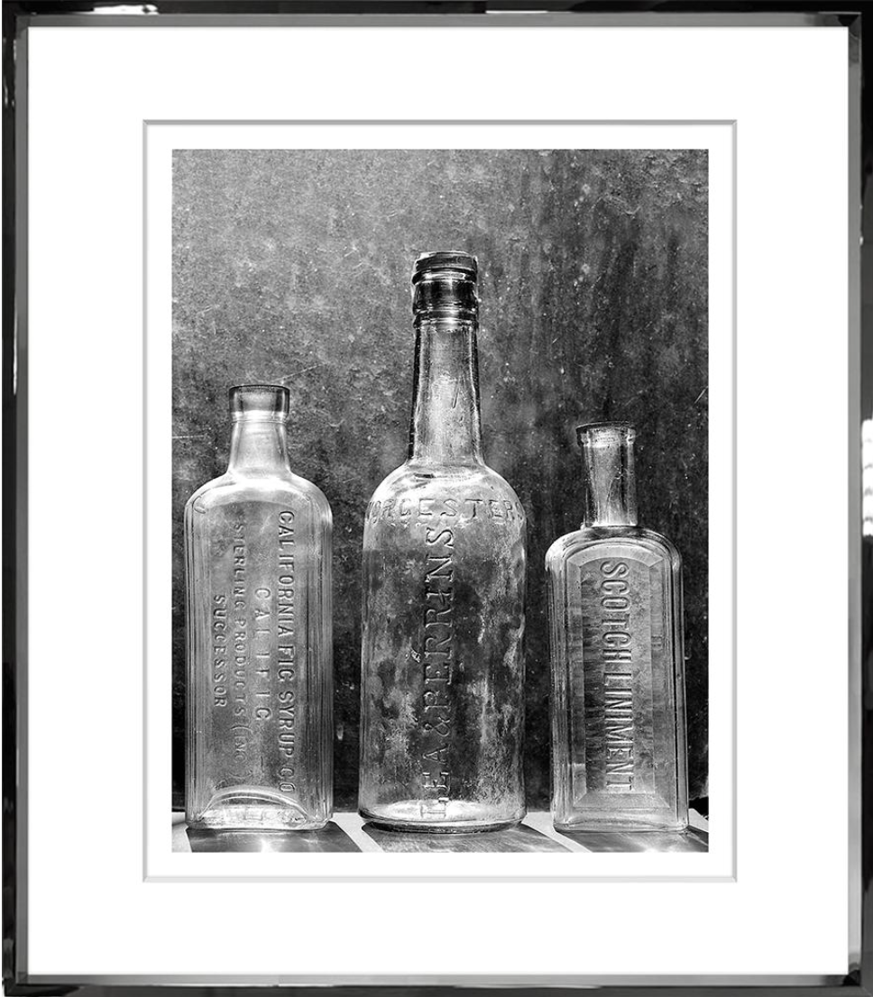 Trowbridge Art Black & White Vintage Bottles II