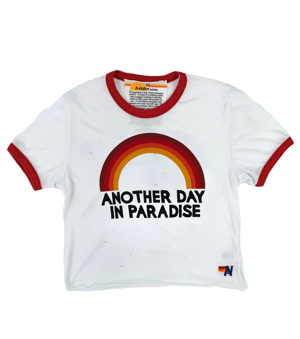 Aviator Nation Paradise Rainbow Boyfriend Ringer Tee