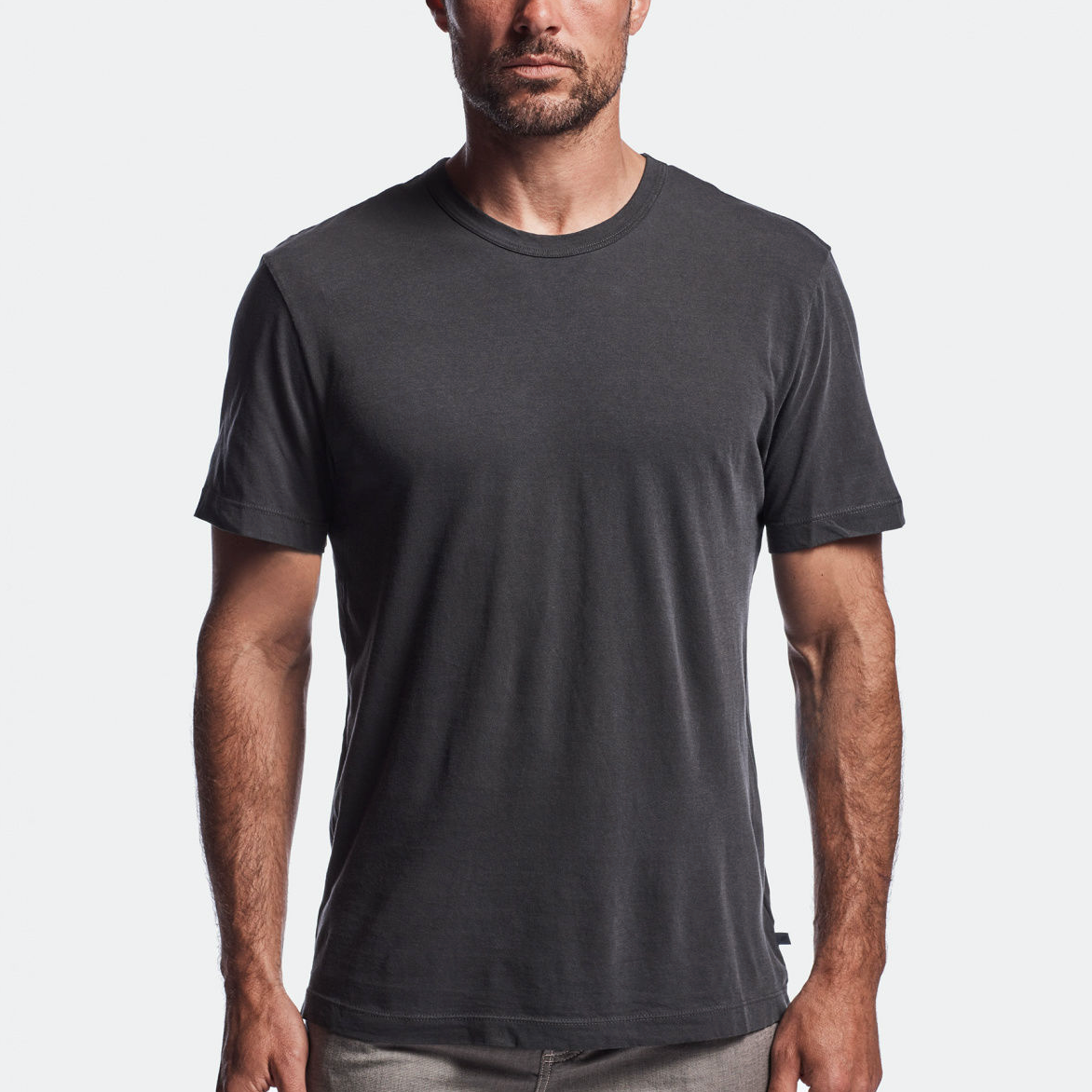 James Perse Short Sleeve Crew Neck Carbon Pigment