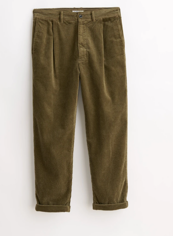 Alex Mill Rugged Cord Pleated Pant - Olive