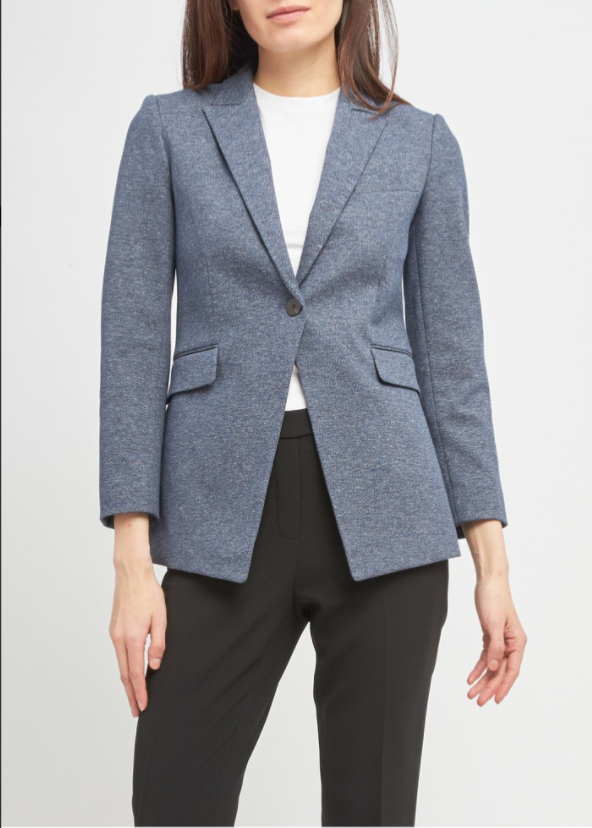 Theory Etiennette Blazer In Good Wool - Blue Multi