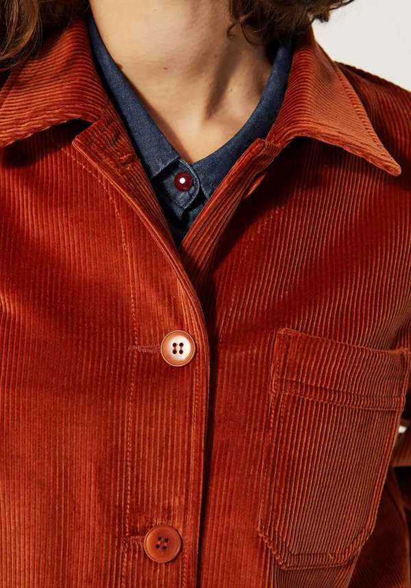 Le Mont St Michel Corduroy Work Jacket  - Rust