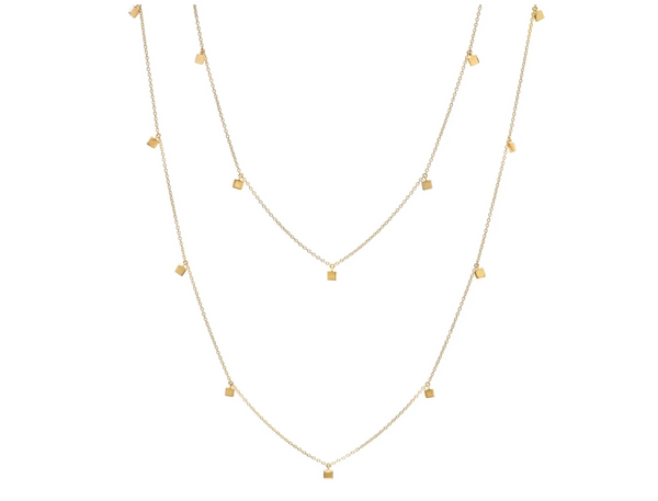 Eriness 14K Gold Long Mini Square Necklace