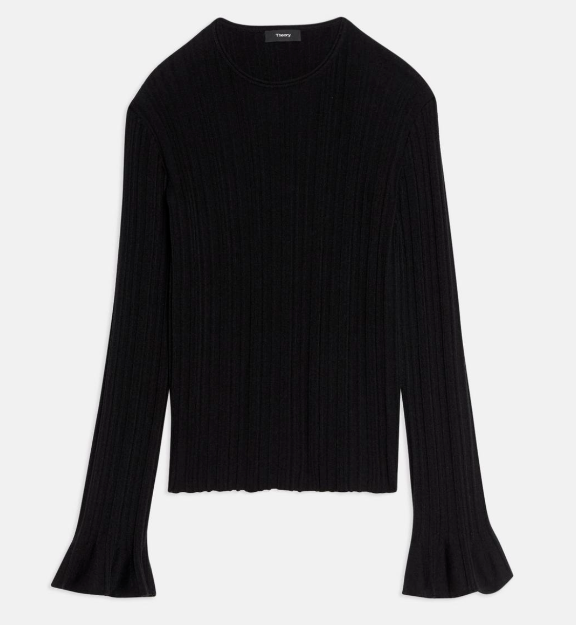 Theory Linear Knit Top in Stretch Wool Blend