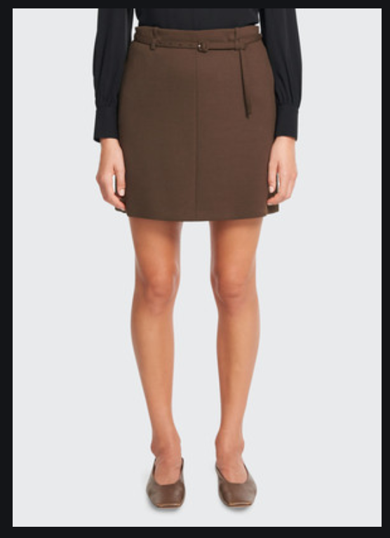 Theory Belted Mini Skirt in Utility Wool