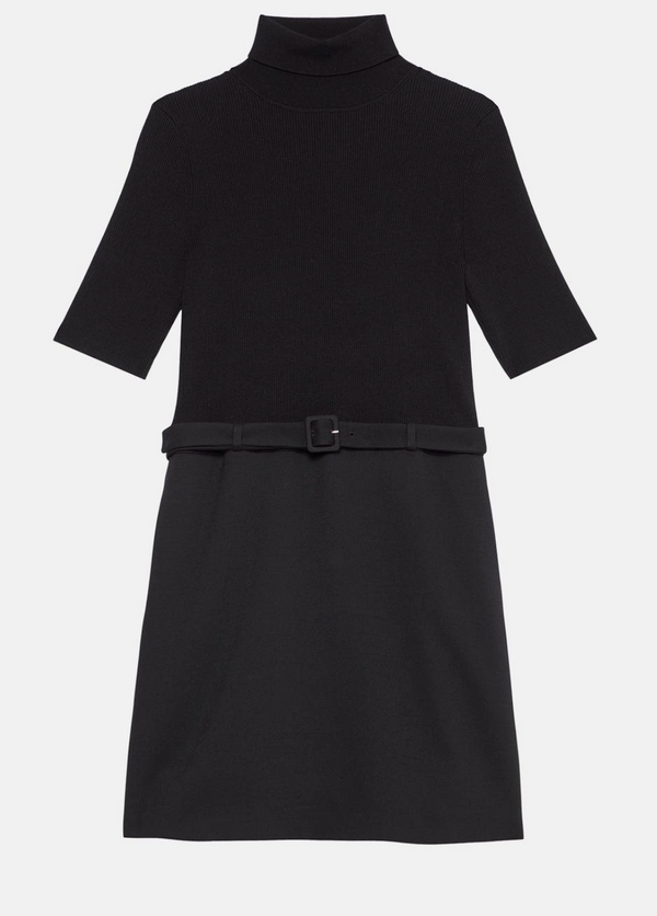 Theory Knit Combo Dress in Utility Wool