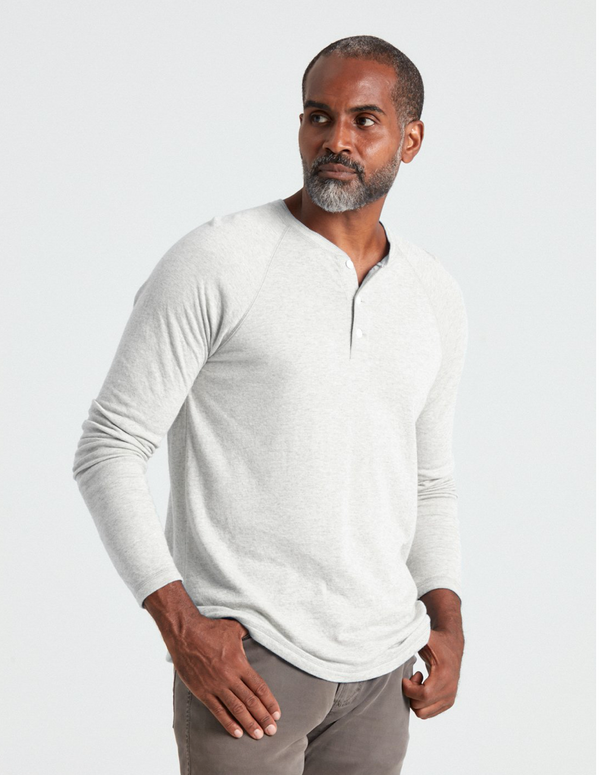 Faherty Cloud Long-Sleeve Henley - Ivory Heather