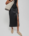 Nanushka Malorie Ruched Vegan Leather Skirt Black