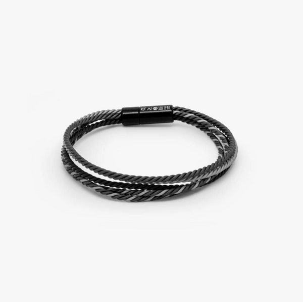 Tateossian Corda Multi Strand Bracelet with Grey Rubber and Aluminium
