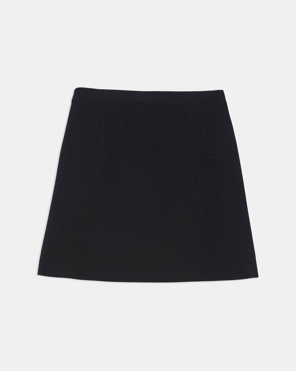 Theory Staple Wrap Skirt In Crepe - Black