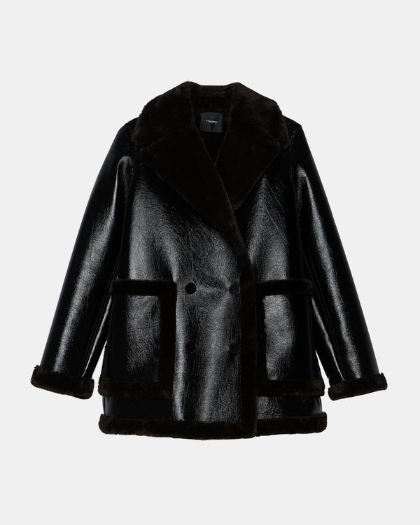 Theory Fur Peacoat in Bonded Faux Shearling