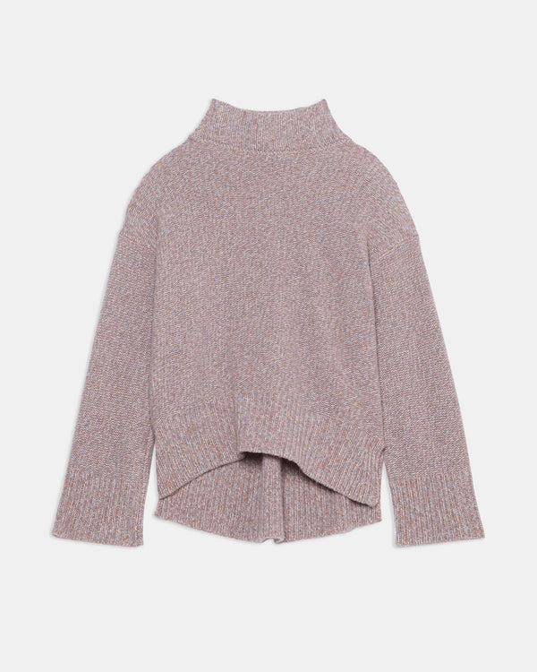 Theory Karenia Funnel Neck Marled Knit Cashmere Sweater
