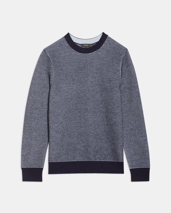 Theory Boland Crewneck Sweater in Cashmere Jacquard - Baltic Multi