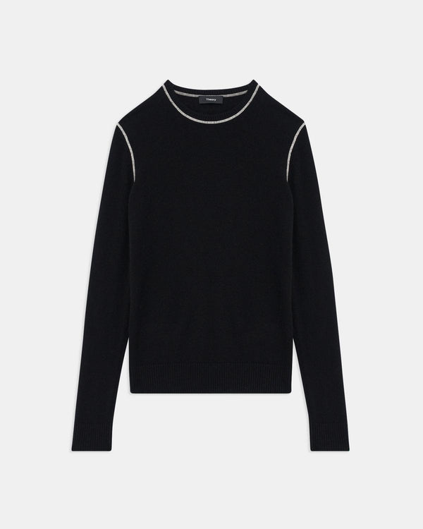 Theory Black Crewneck with White Stitch in Cashmere