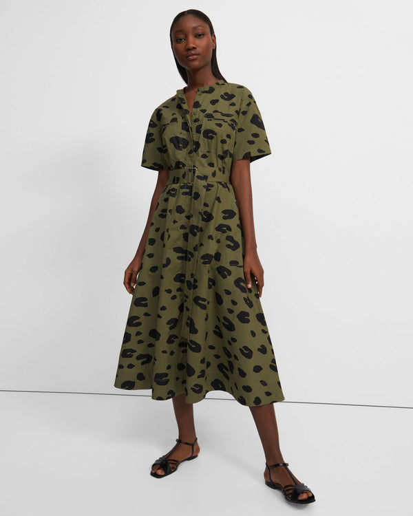 Theory Short-Sleeve Utility Shirtdress in Leopard Poplin