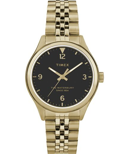 Timex Womens Waterbury Traditional 34mm Stainless Steel Watch- Black