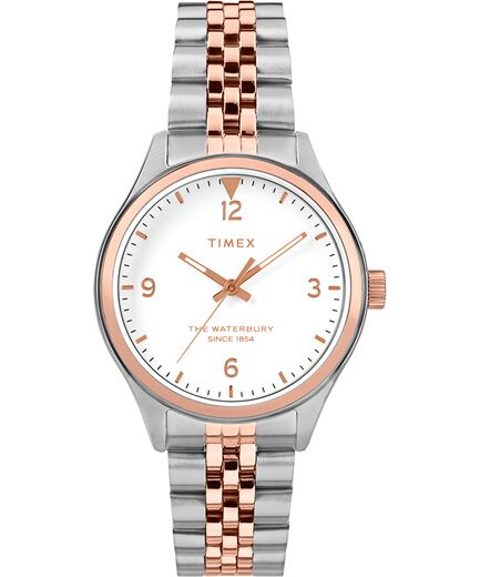 Timex Womens Waterbury Traditional 34mm Stainless Steel Watch- Two Tone
