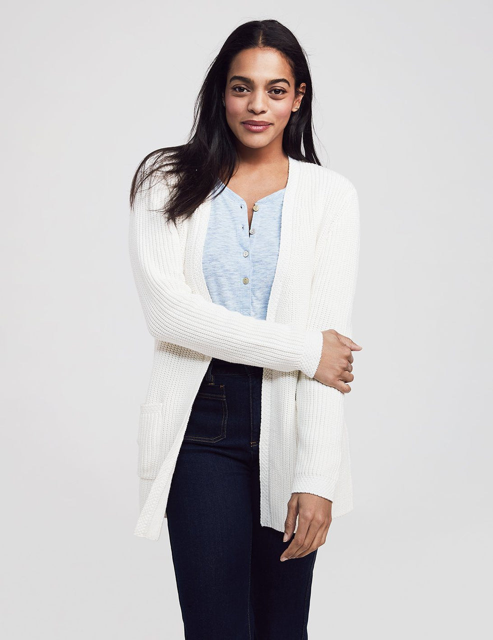Faherty Women's Mix Stitch Cotton Blend Cardigan - Cream - VTS
