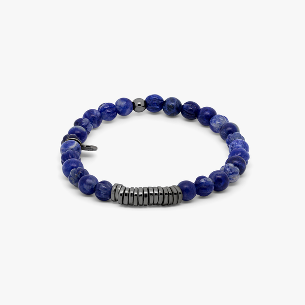 Tateossian Classic Discs Bracelet with Sodalite and Black Rhodium Plated Silver