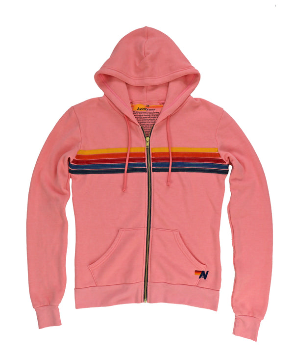 Aviator Nation 5 Stripe Hoodie - Blush