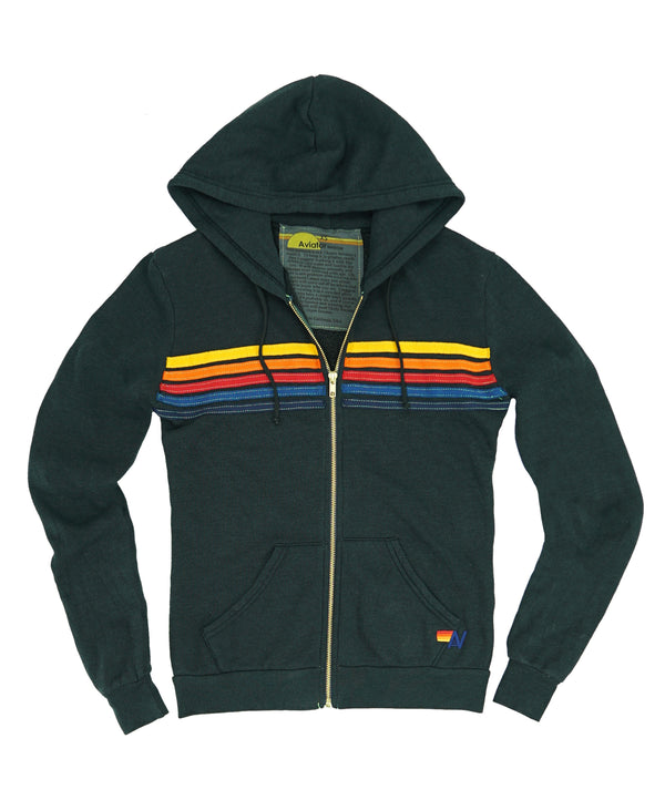 Aviator Nation 5 Stripe Zip Hoodie Charcoal