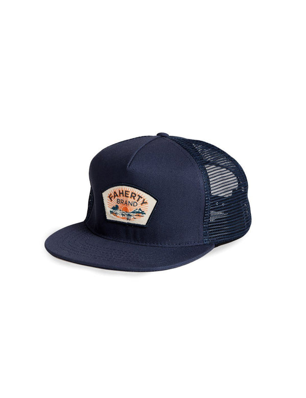 Faherty 5 Panel Trucker Hat Navy