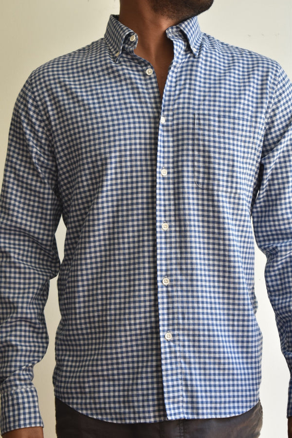 Faherty Everyday Button Down Shirt Navy Heather Gingham