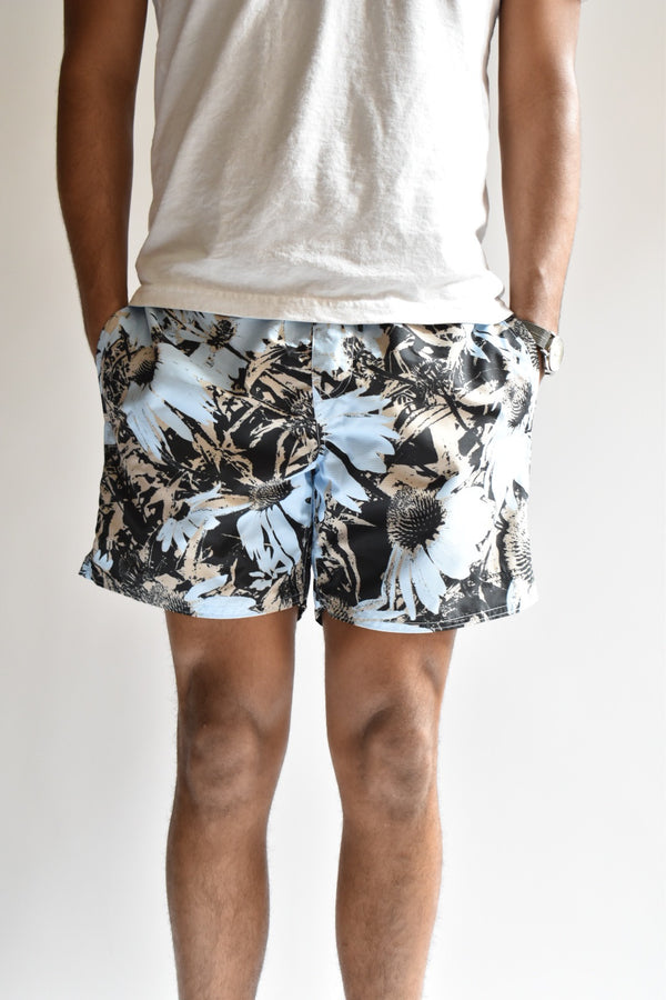 Saturdays Timothy Daisy Print Swim Short Sky Blue