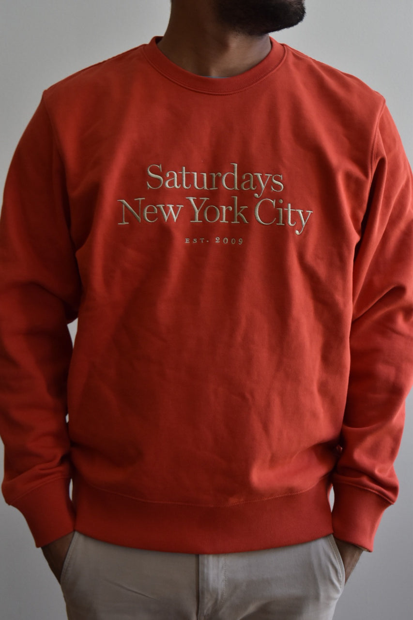 Saturdays Bowery Miller Standard Embroidered Crew Chili Red
