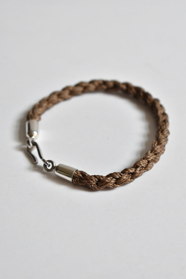 Caputo & Co Hand Braided Waxed Cord Bracelet Brown