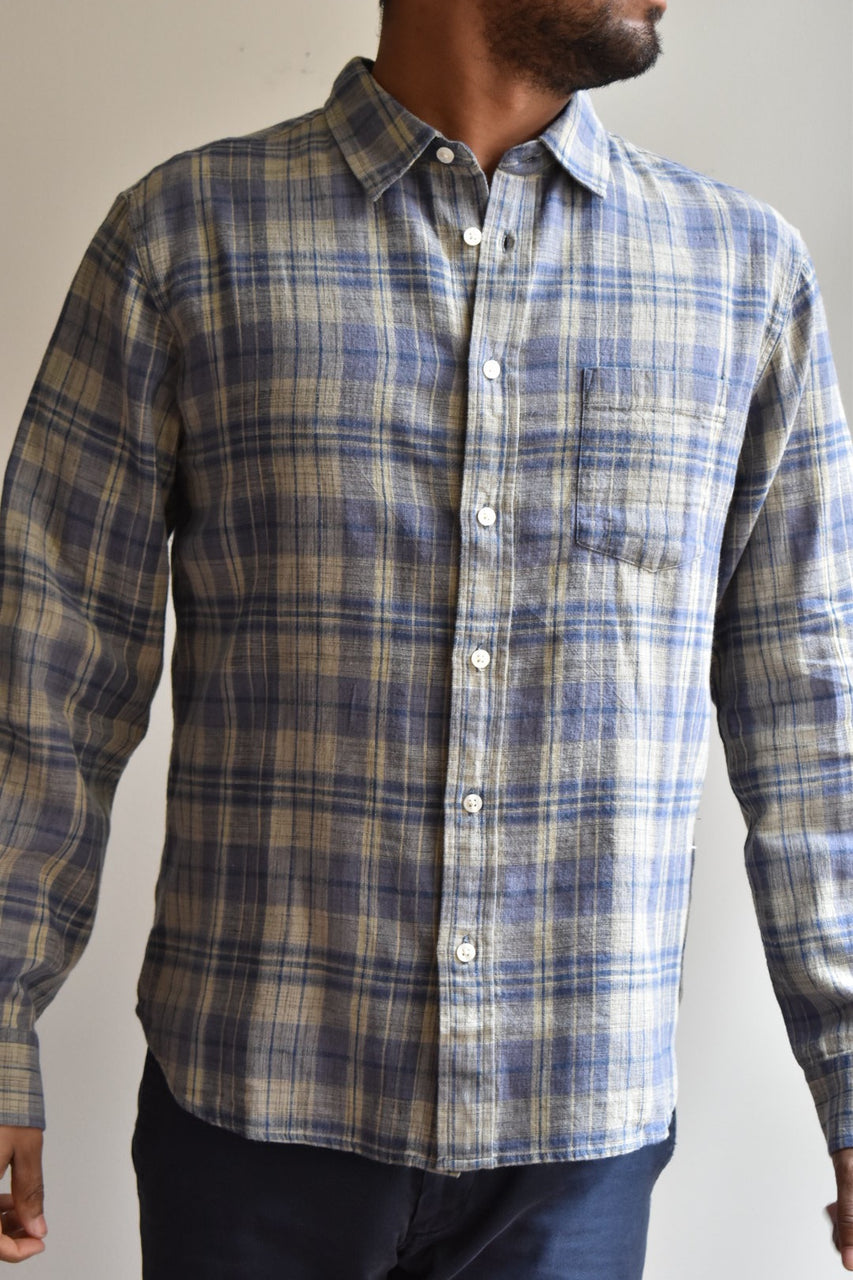 Corridor Hemp Plaid Long Sleeve Shirt Blue
